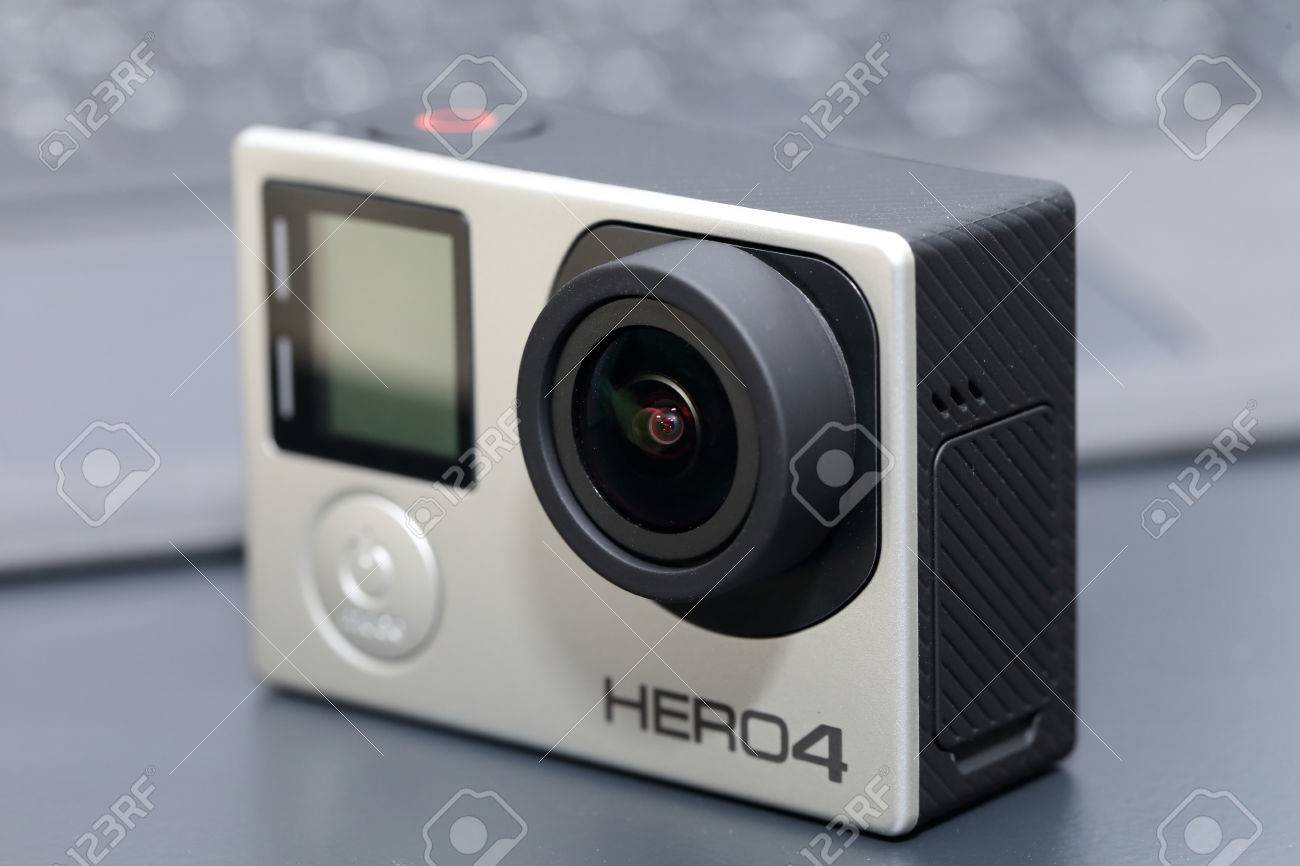 bangkok thailand july 1 2016 gopro hero 4 silver edition on black