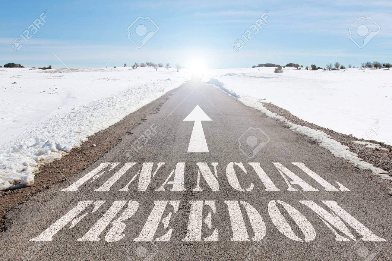 business concept of road to financial freedom words on the road