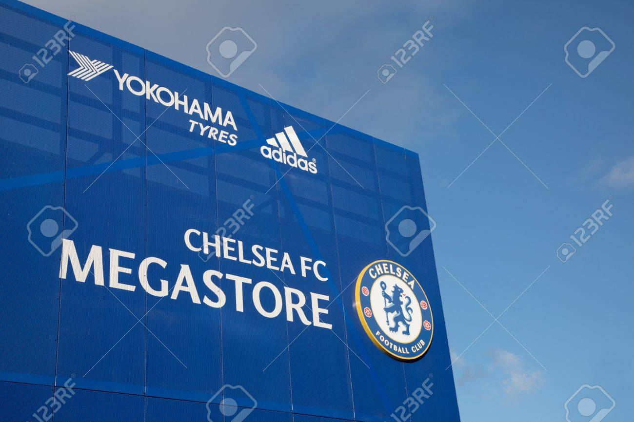LONDON, ENGLAND - MAY 1:Chelsea Megastore Sign in front of Stamford