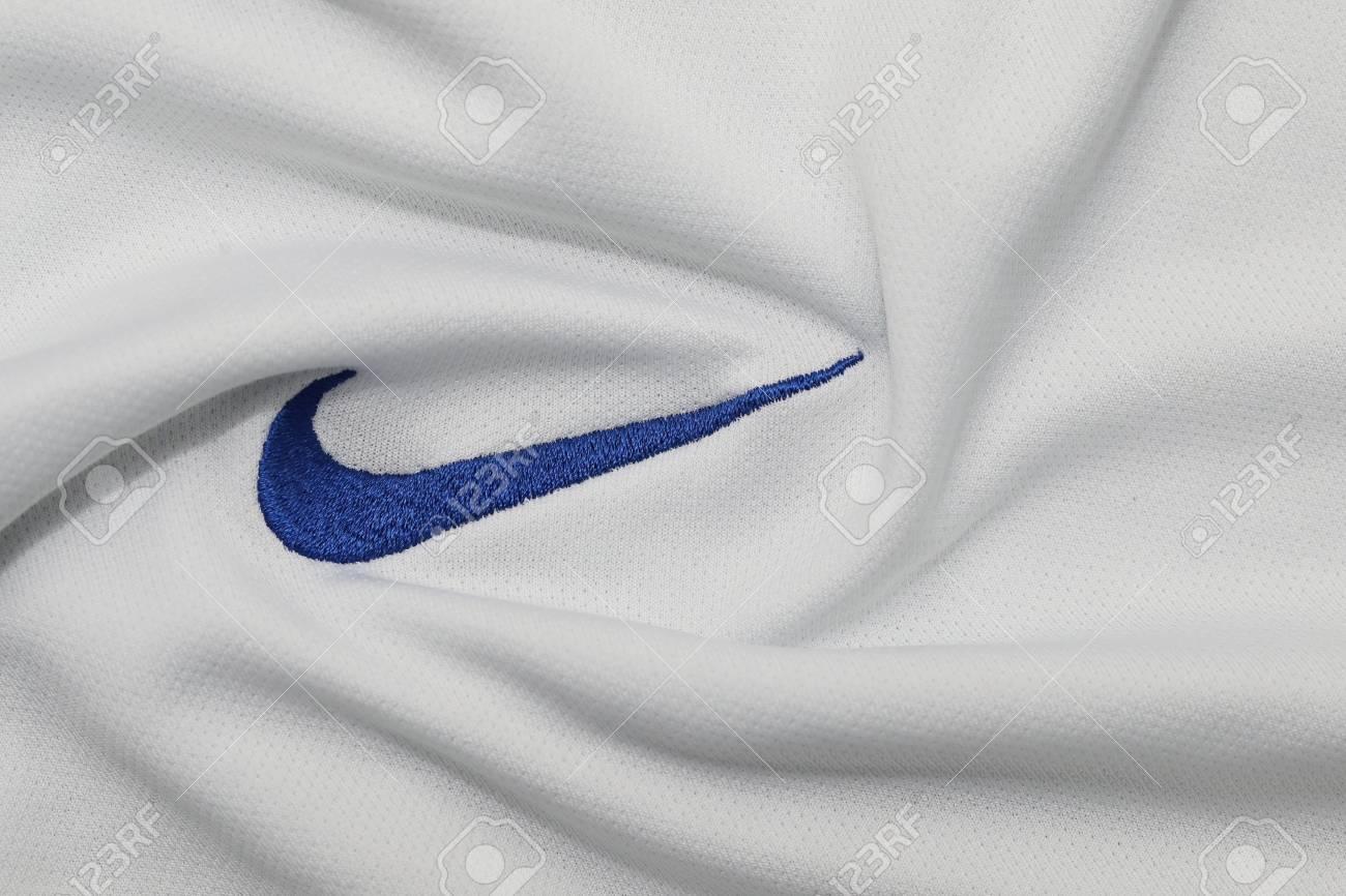 best service 200fe 81c22 BANGKOK, THAILAND - JULY 15: The Logo of Nike on Football Jersey..