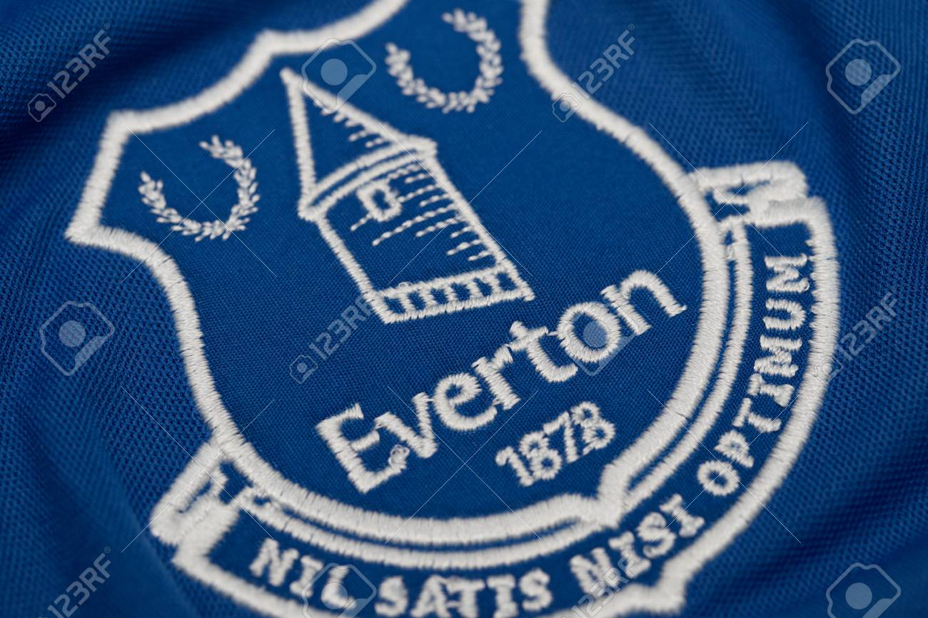 Bangkok Thailand August 23 The Logo On Everton Logo On Football Stock Photo Picture And Royalty Free Image Image 84460190