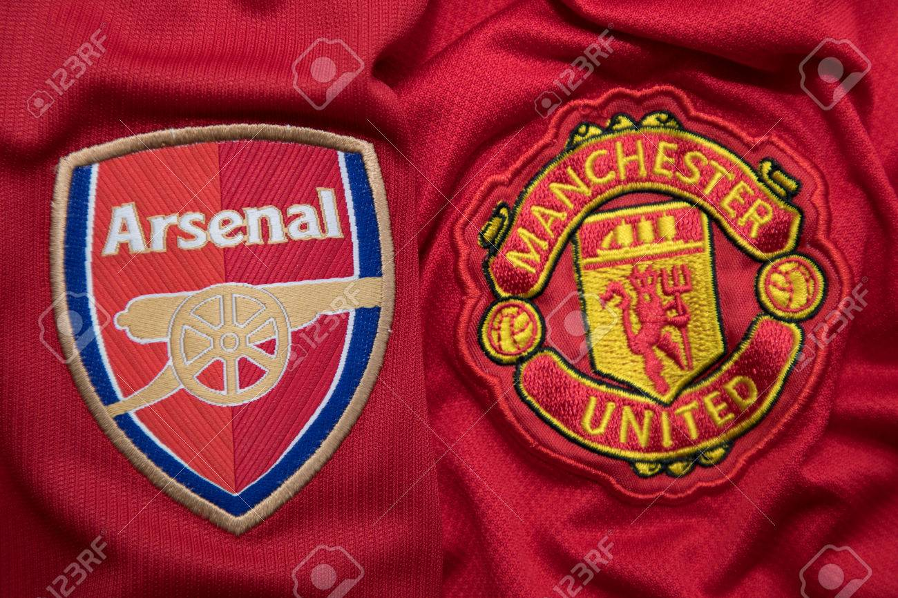 Bangkok Thailand August 23 The Logo Of Arsenal And Manchester Stock Photo Picture And Royalty Free Image Image 84460205