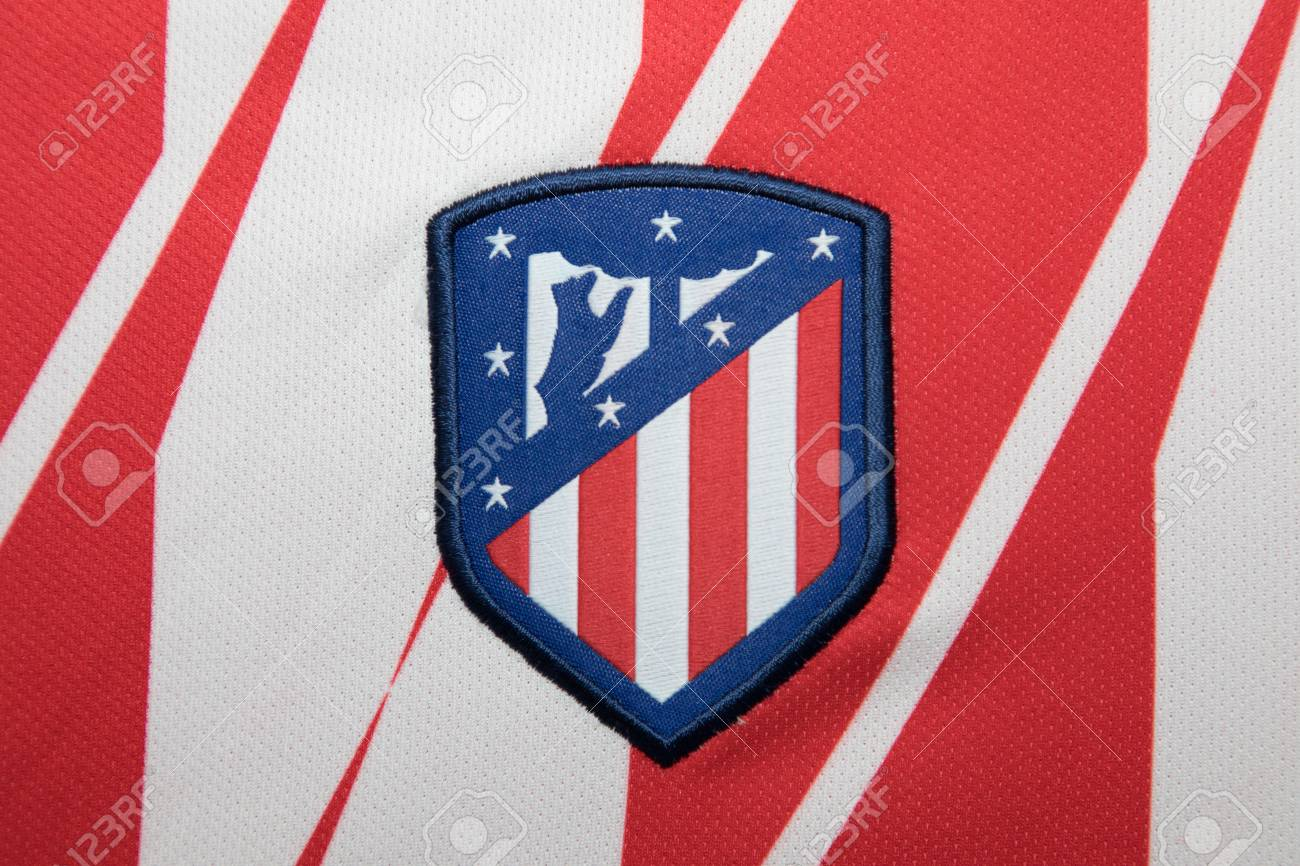 new product 5030b 99a02 BANGKOK, THAILAND - AUGUST 23: the logo of the new Atletico Madrid..