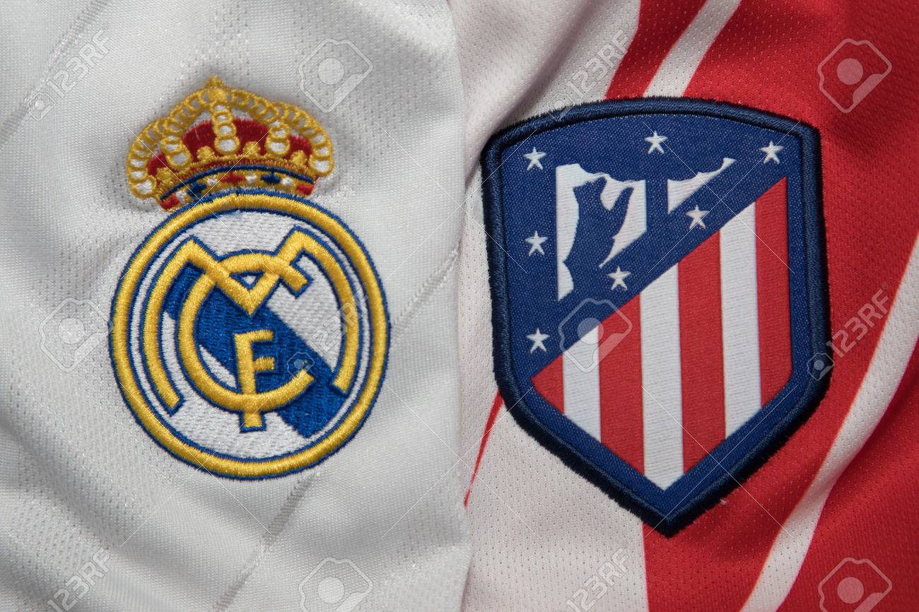 Bangkok Thailand August 23 The Logo Of Real Madrid And Atletico