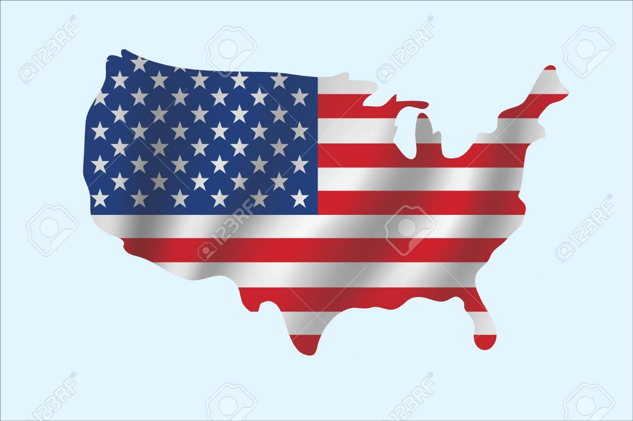 Vector Of Hand Drawing USA Map With Ripple Flag Royalty Free ...