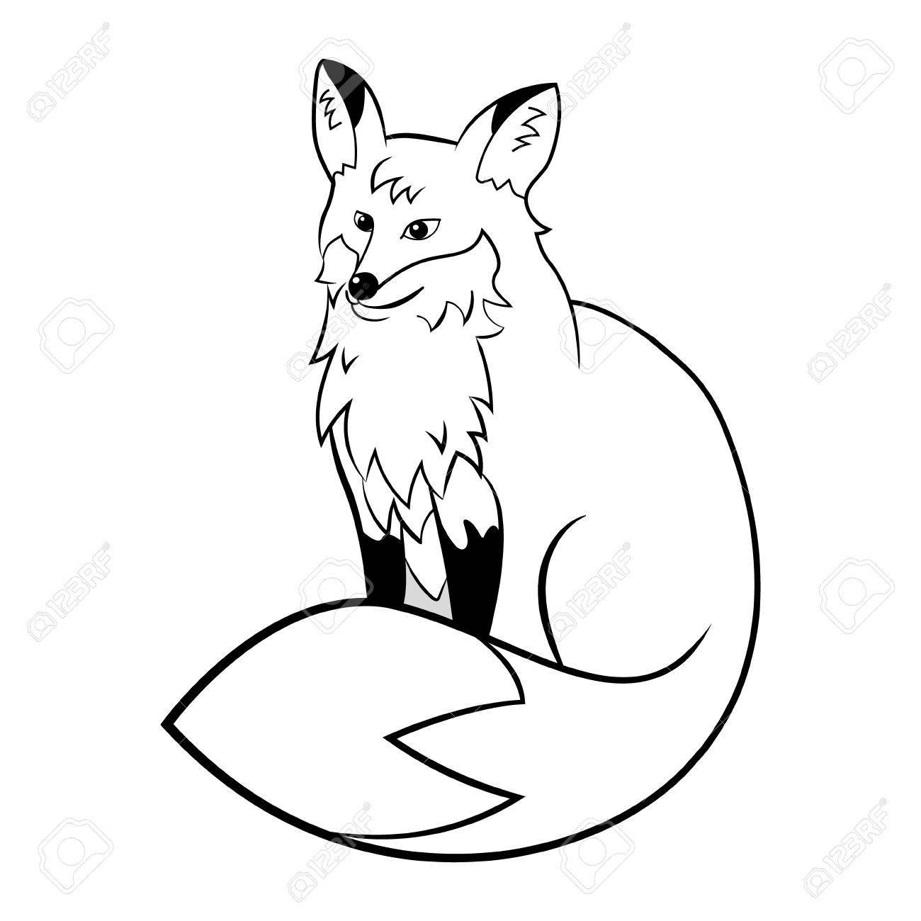 Vector fox cute cartoon animal black white for coloring