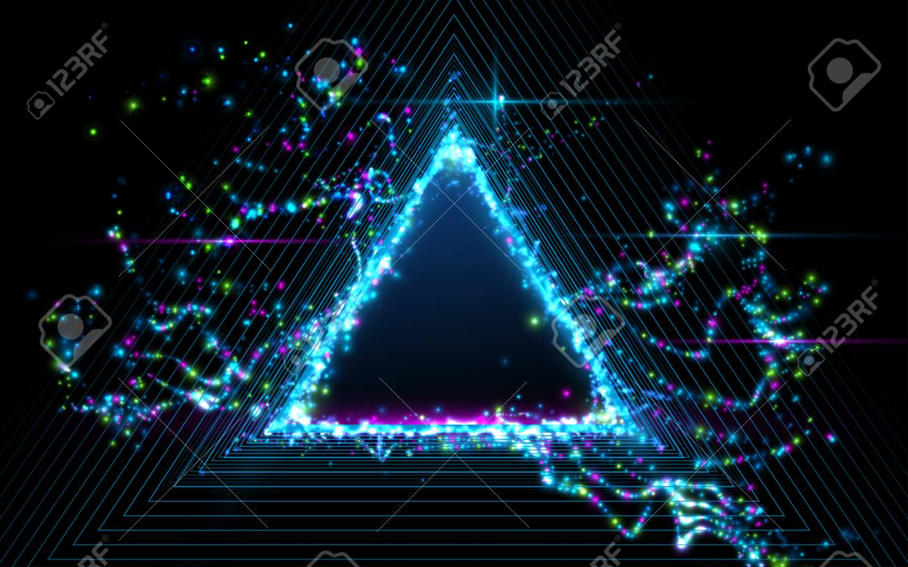 Abstract triangle background, light particles effect  Vector