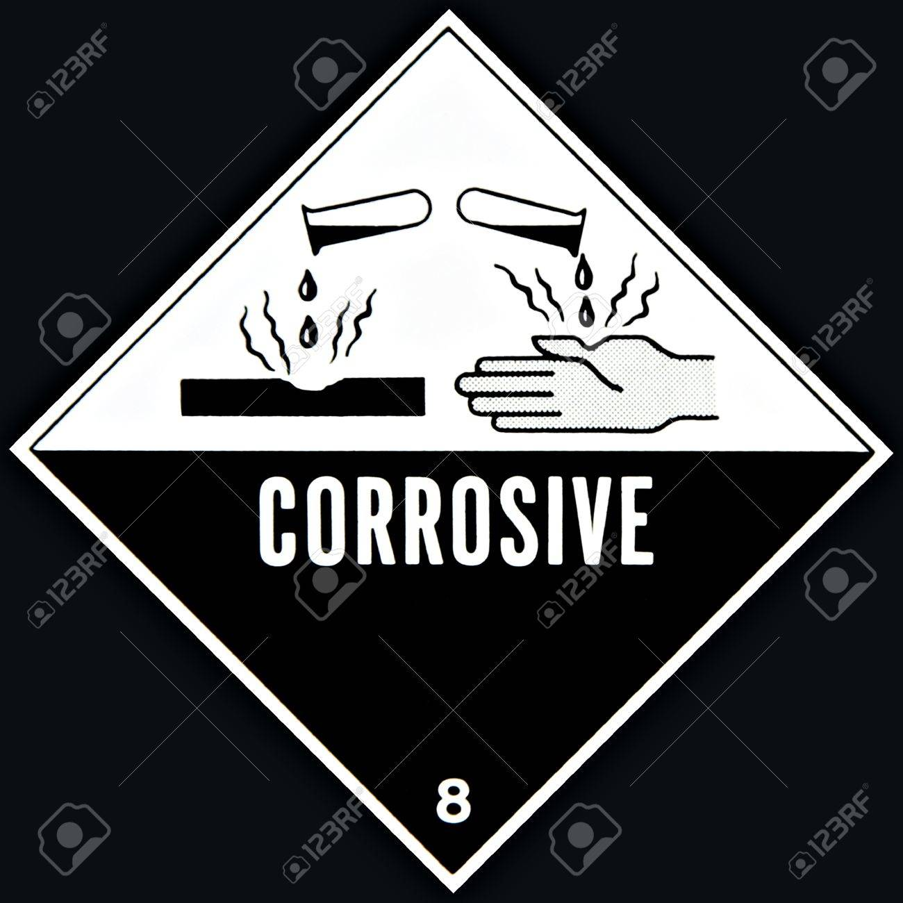 Placard Or Sign Warning Of A Corrosive Chemical Stock Photo Picture