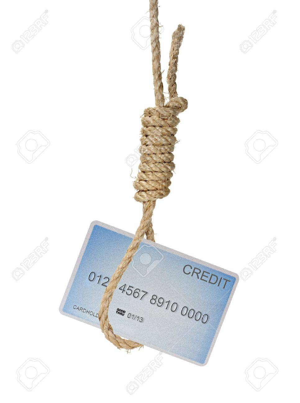 Credit Card Hanging In A Noose Isolated On White Stock Photo