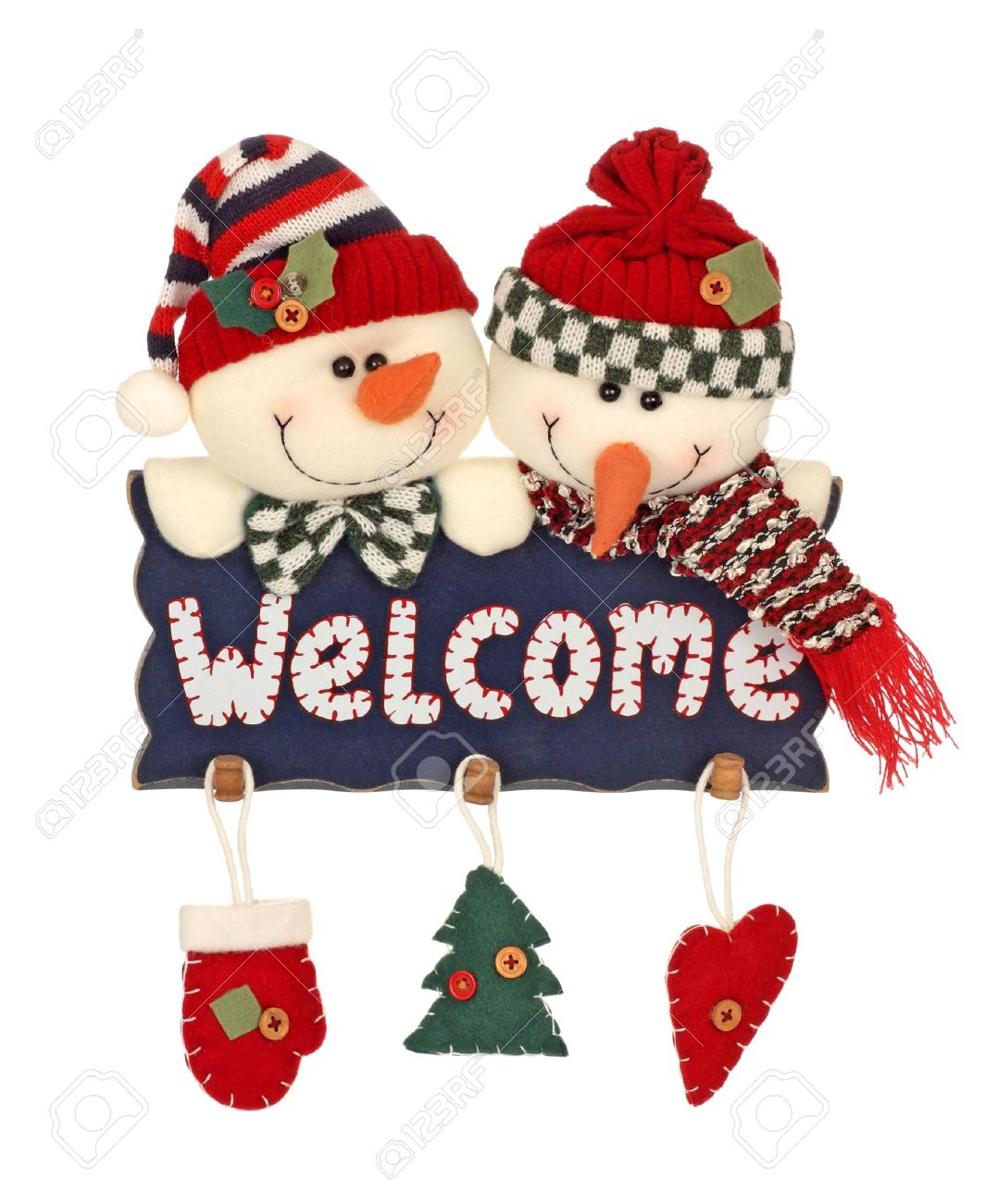 Welcome Christmas.Christmas Holiday Snowmen With Welcome Sign Isolated On White