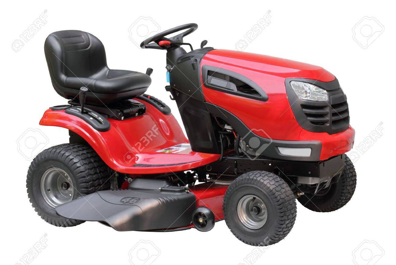 Riding lawn mower won t start - New Red And Black Lawn Tractor Isolated On White Stock Photo 7569689