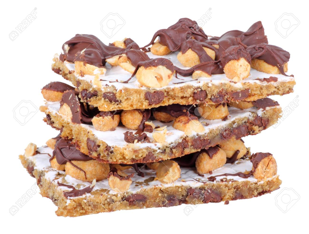 Stack of chocolate peanut bars isolated on white Stock Photo - 8610800