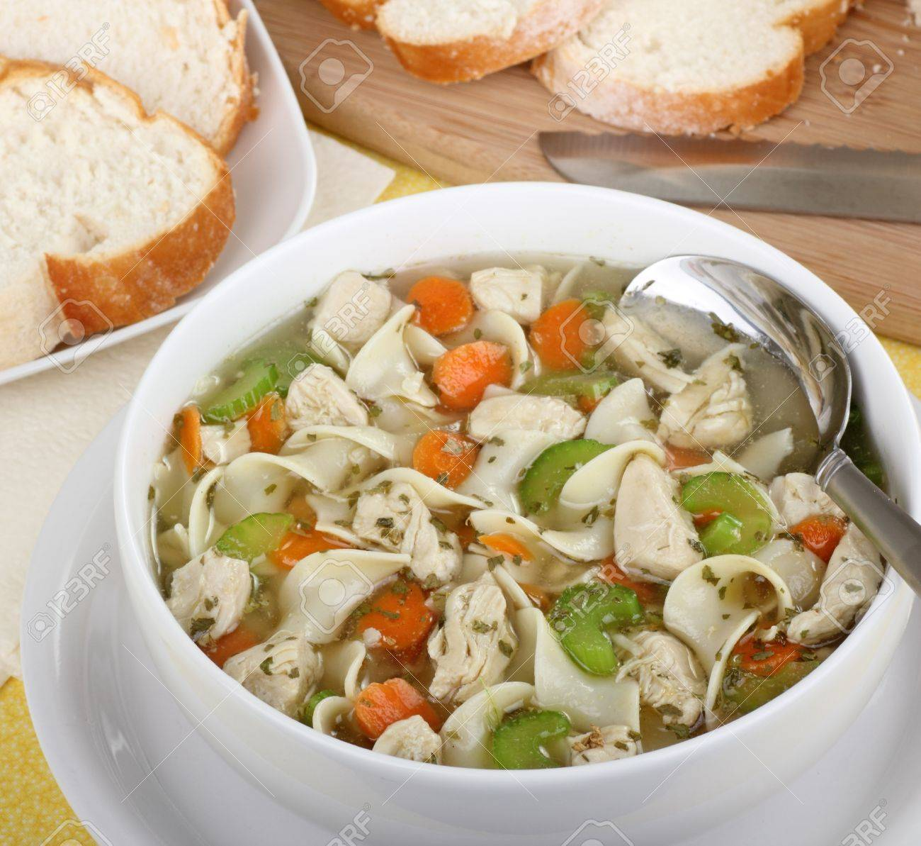 Bowl of chicken noodle soup with celery and carrots Stock Photo - 16113266