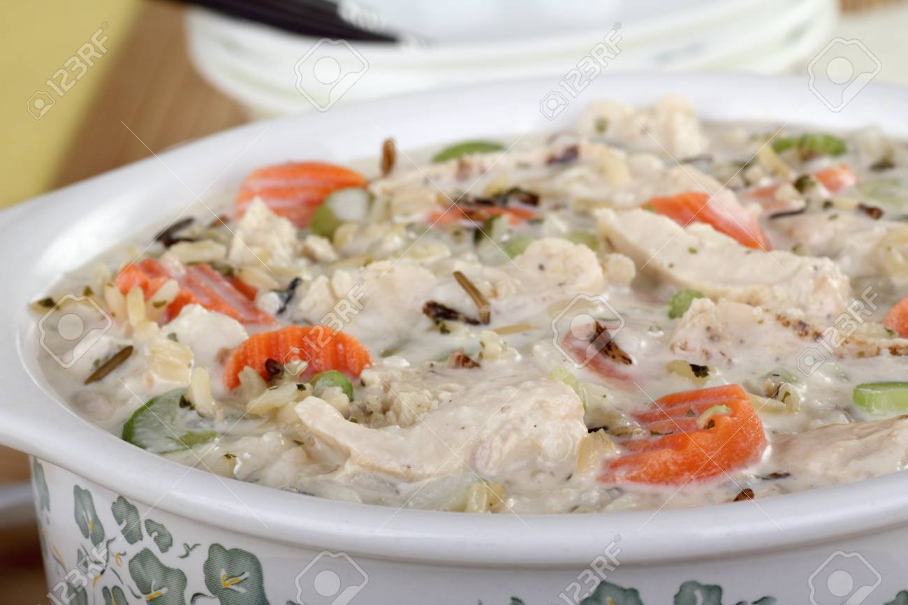 Closeup of a pot of chicken and rice soup with vegetables Stock Photo - 16113264
