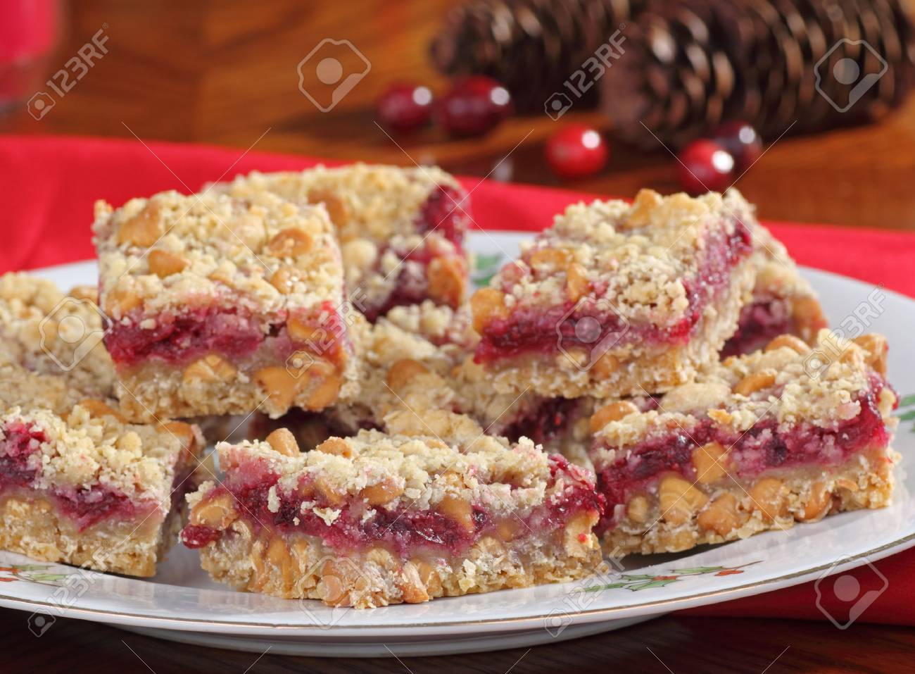 Closeup of a plate of cranberry and peanut butter chip bars Stock Photo - 16240857