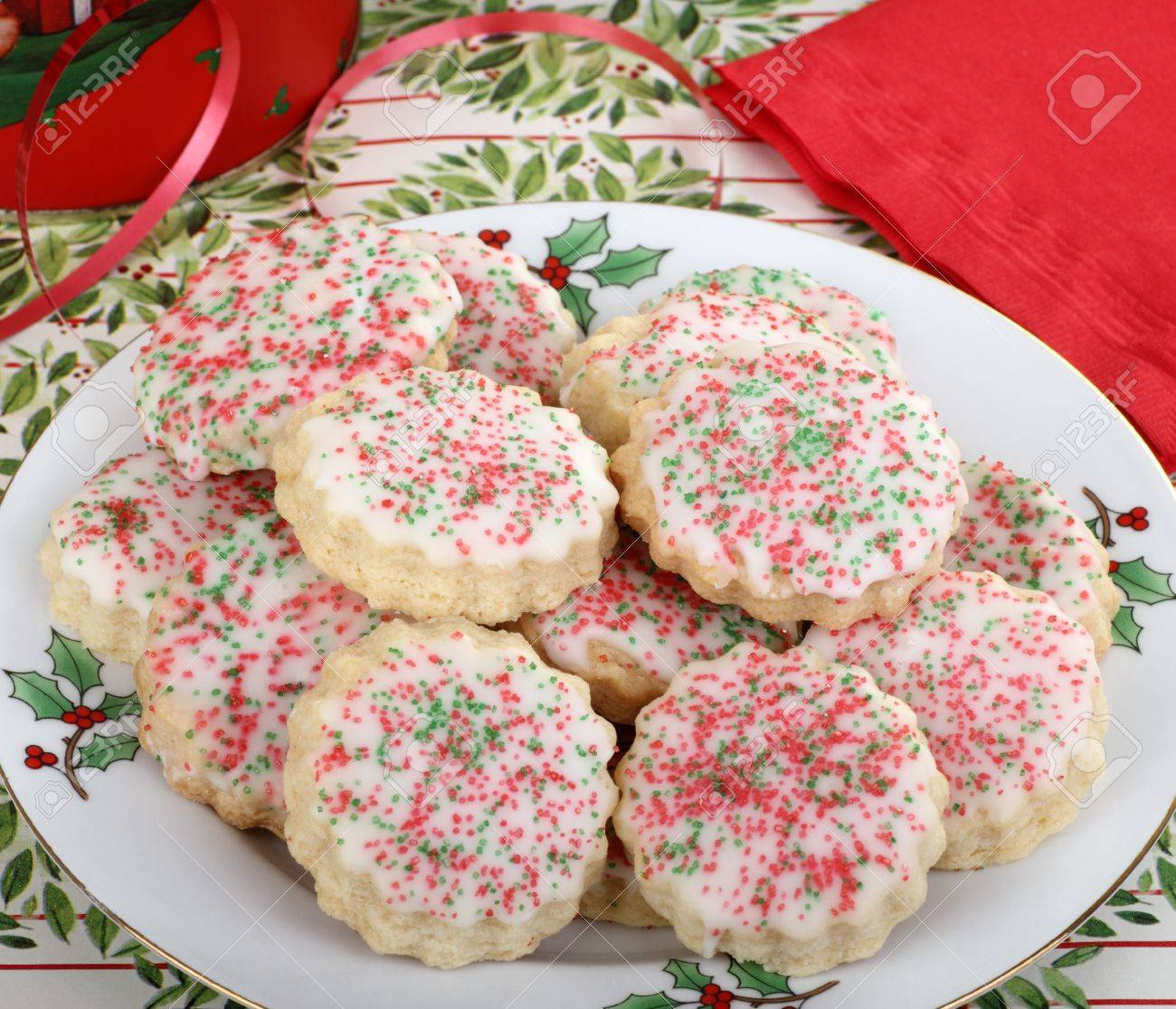 Plate Of Shortbread Christmas Cookies With Icing And Colored