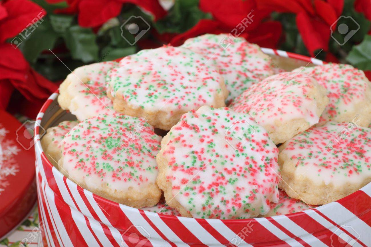 Closeup Of Shortbread Sugar Christmas Cookies In A Cookie Tin