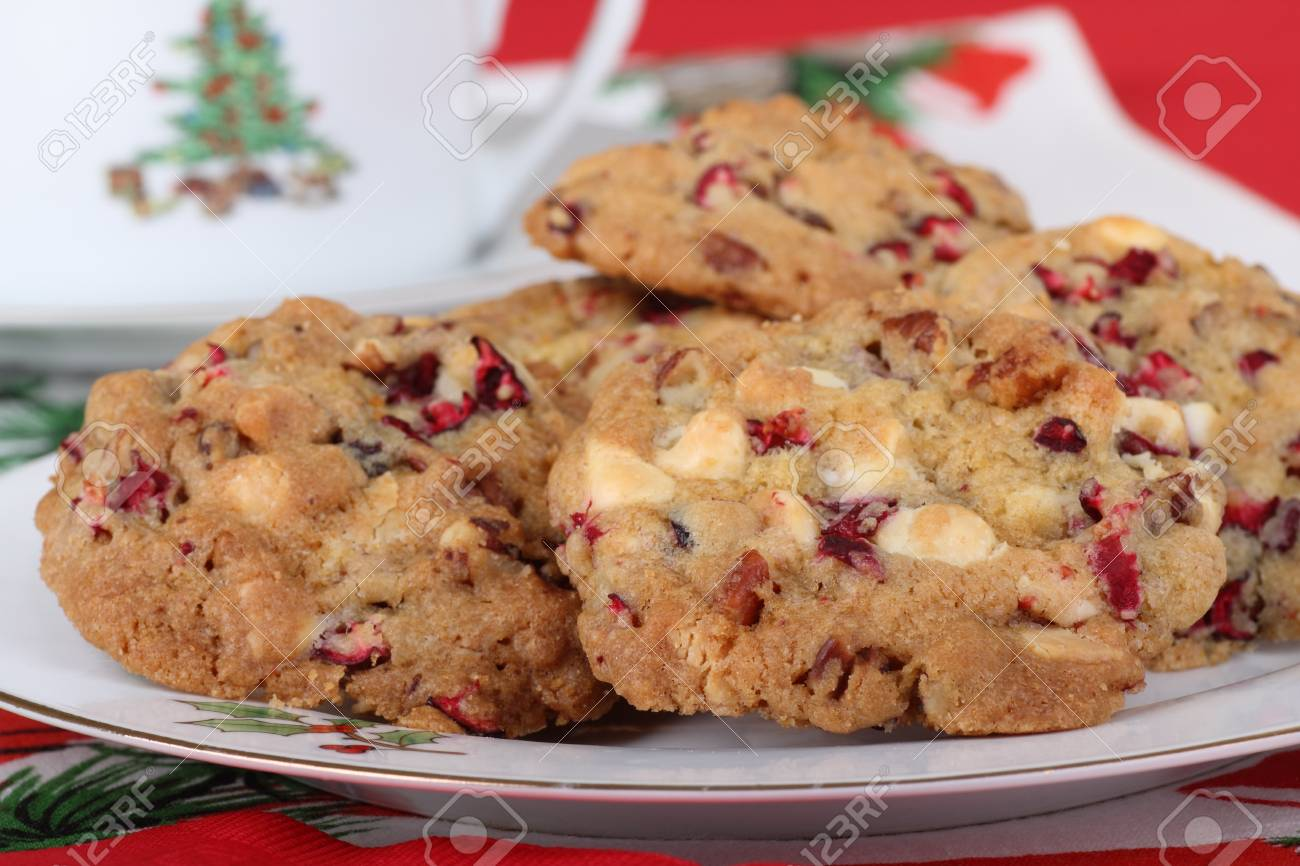 Closeup of a plate of cranberry and nut cookies Stock Photo - 16522183