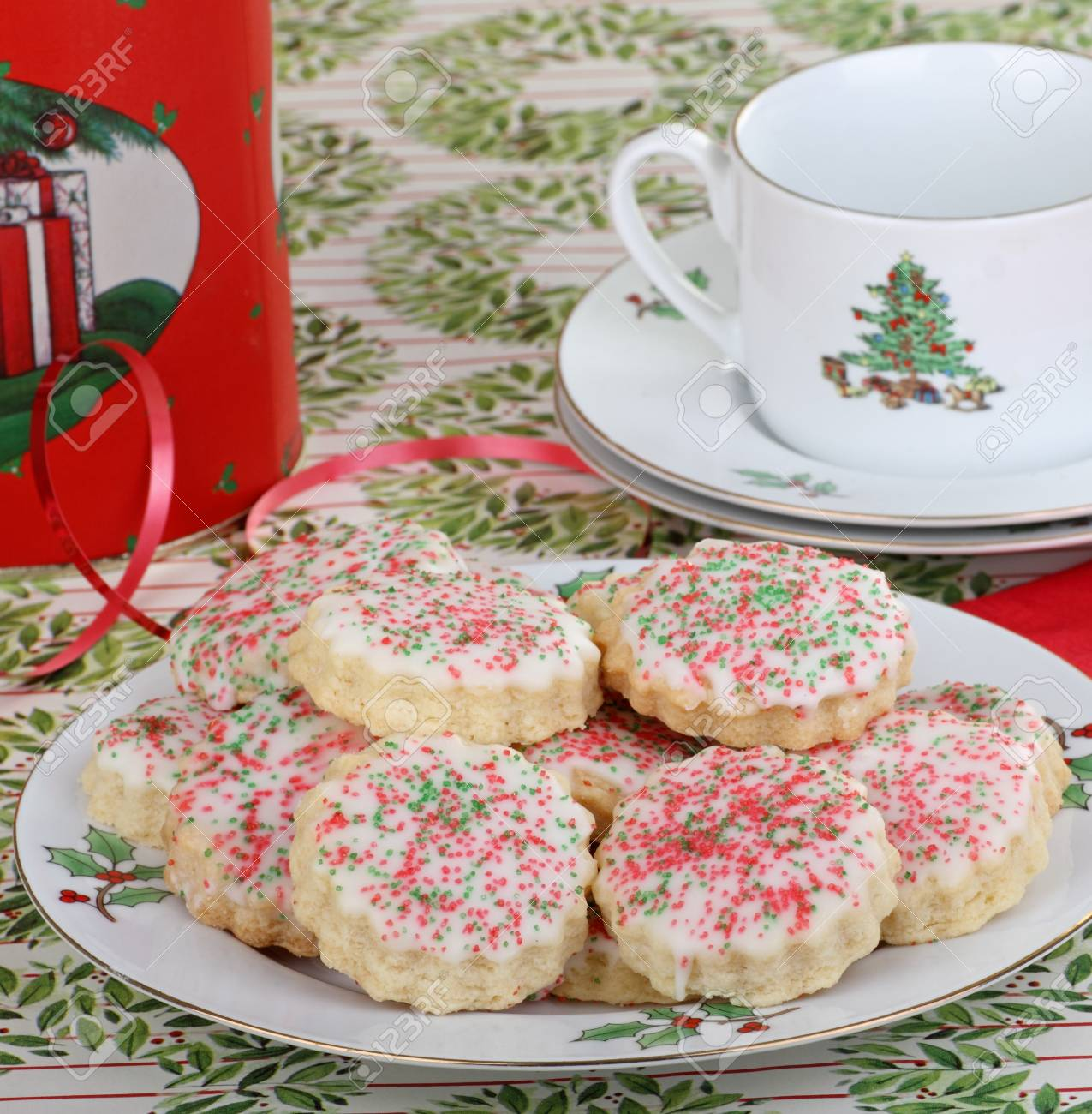 Shortbread sugar cookies with sprinkles on a plate Stock Photo - 16522178