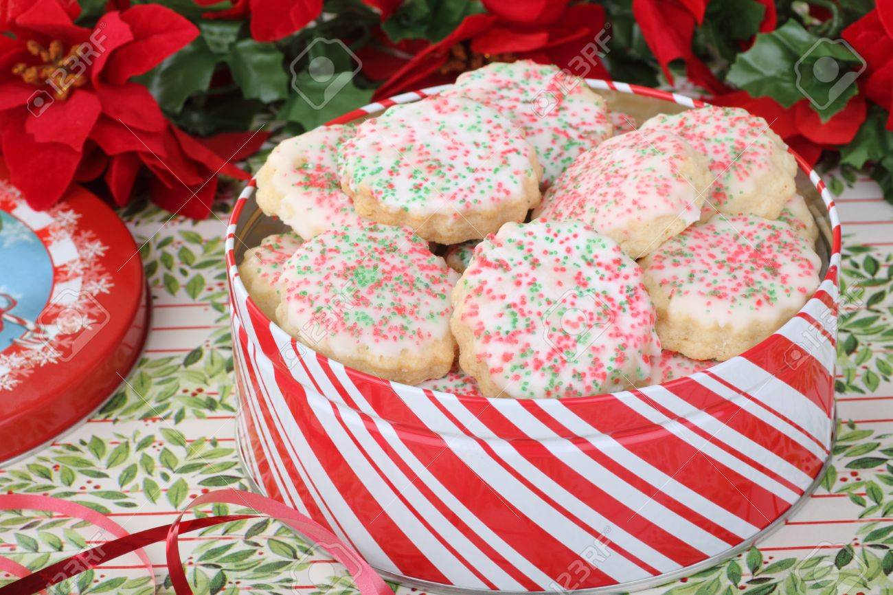 Christmas Shortbread Sugar Cookies In A Red And White Tin