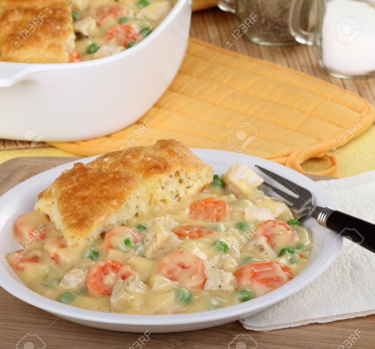 Chicken pot pie with carrots, peas and biscuit Stock Photo - 16657104