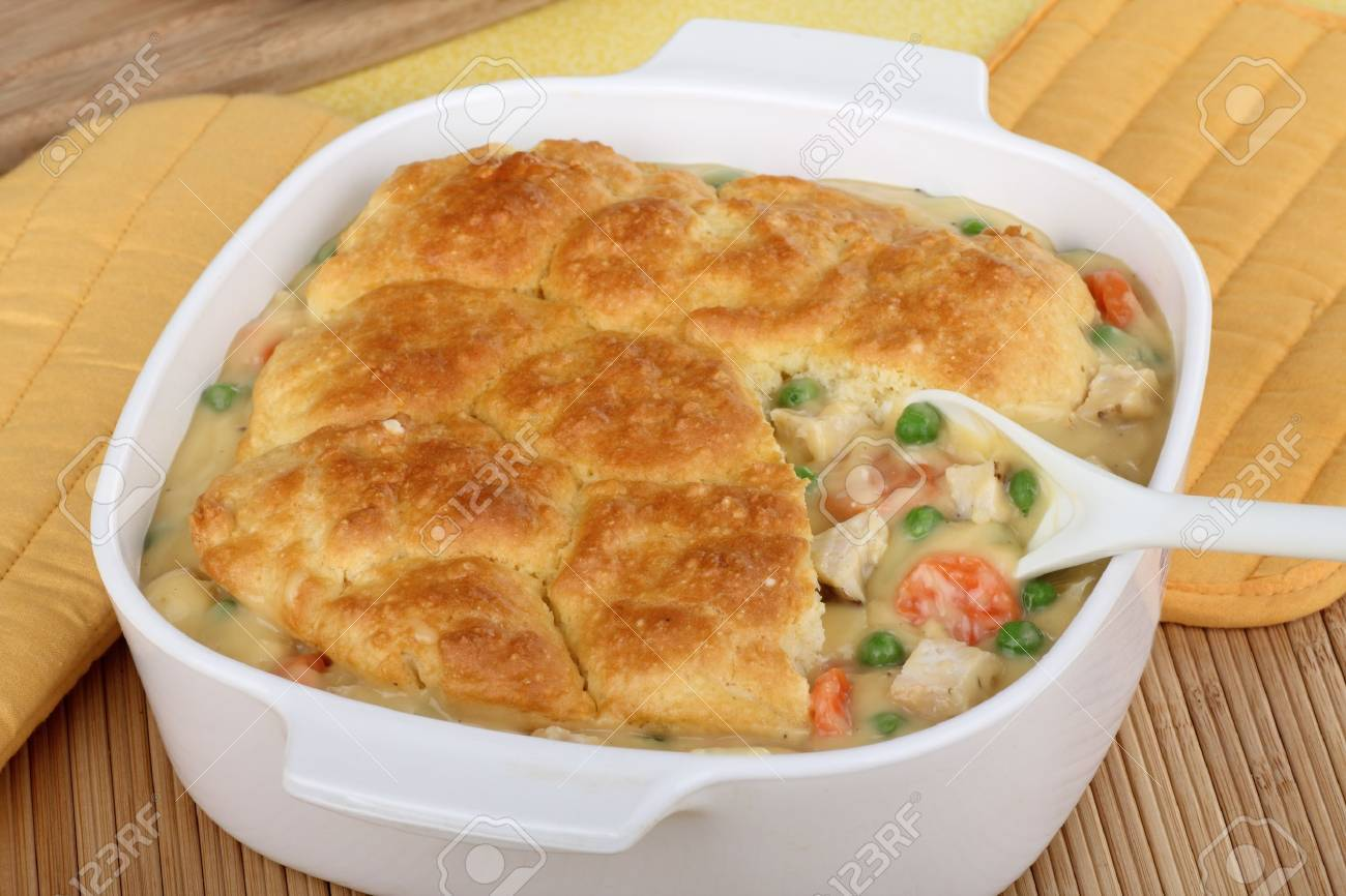Chicken pot pie with carrota and peas Stock Photo - 17004585