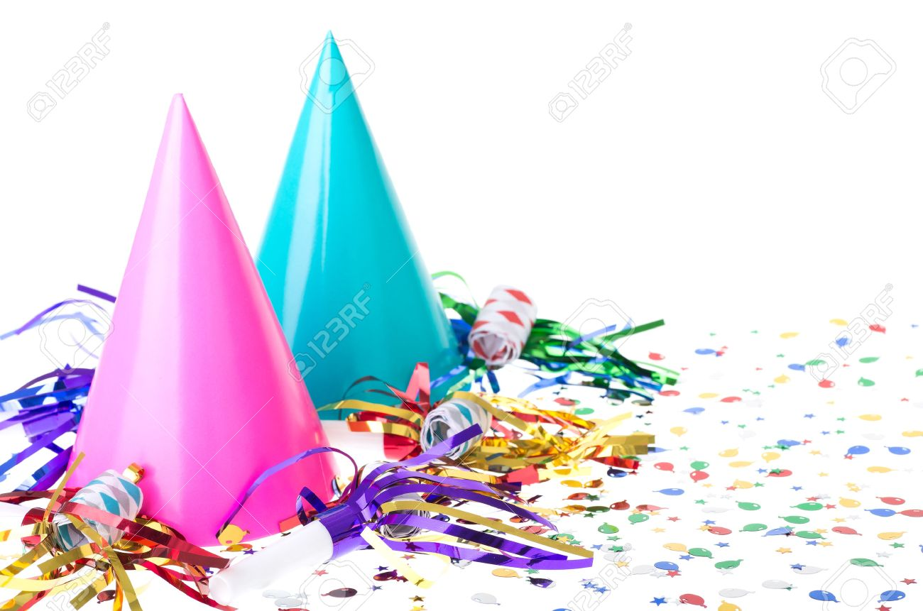 Two Colorful Birthday Party Hats With Noisemakers And Confetti