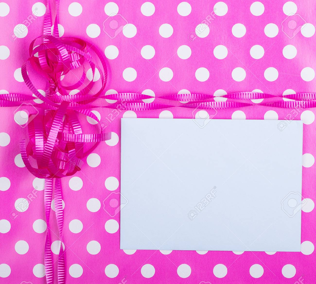 Birthday Gift Wrap Background With A Blank Note Card Stock Photo