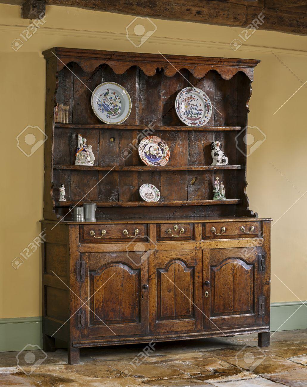 Oude antieke handgemaakte en eikenhout gesneden engels houten ...