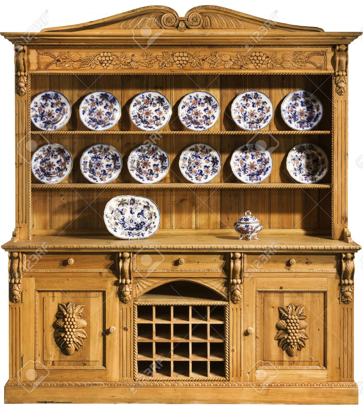 Vintage Antique Pine Kitchen Dresser Heavily Carved Stock Photo Picture And Royalty Free Image Image 41800810