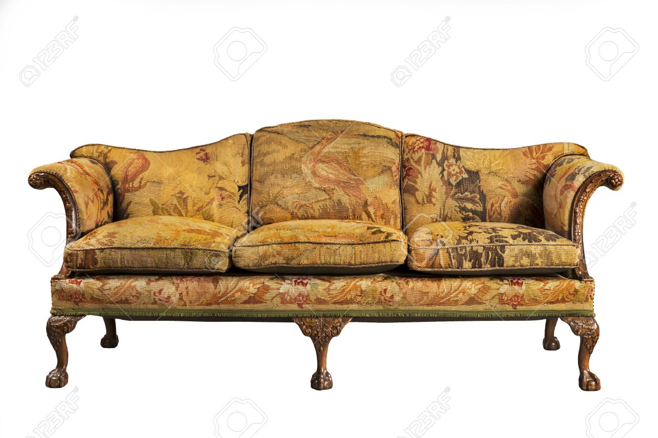 Beau Sofa Antique Sofa Settee With Old Original Tapestry Upholstery Isolated On  White With Clip Path Stock