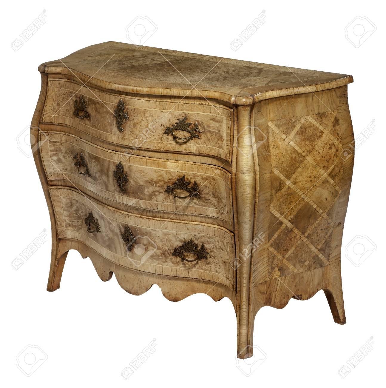 Alte Antike Kommode Aus Holz Europäischen Detaied Intarsien Standard Bild    43132683