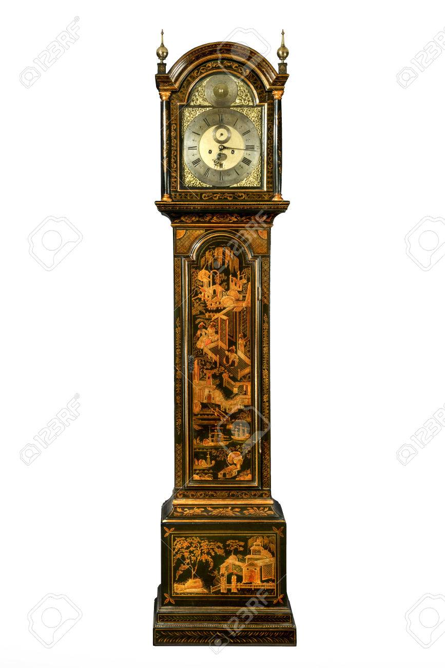 English antique tall long case clock known as grandfather clock for halls Japanned chinoiserie lacquered to look oriental - 43441780