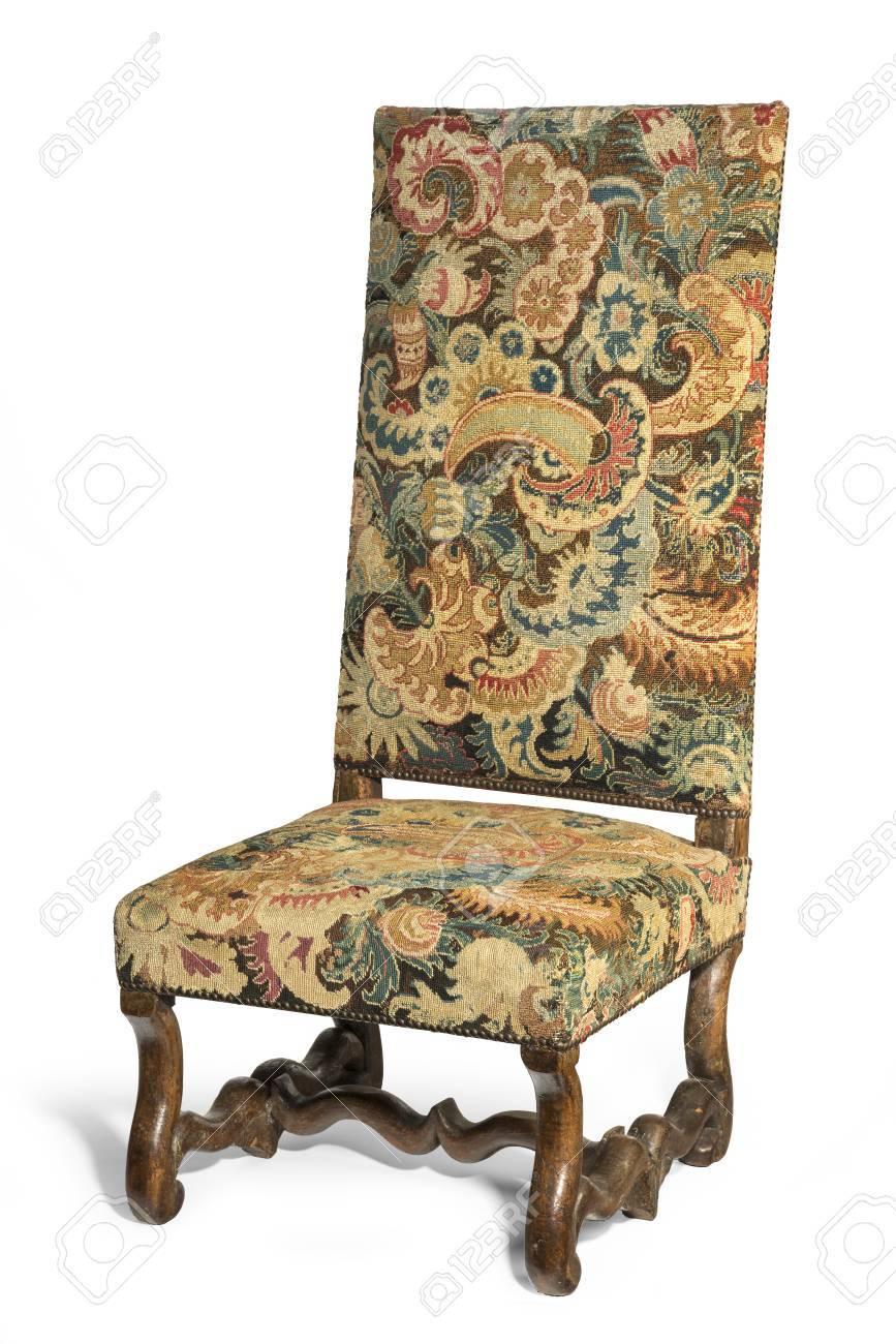 Vieille Chaise Unusual Antique Haut Dossier De Ct Avec La