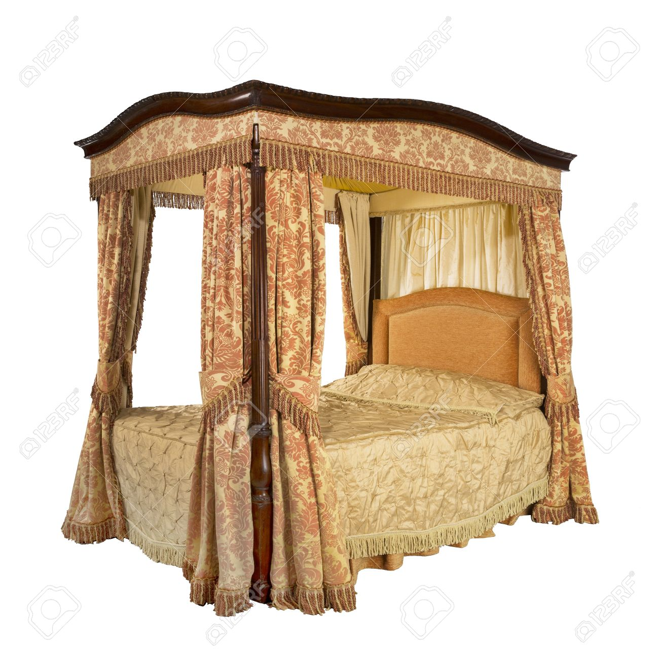 Picture of: Old Vintage Four Poster Bed With Drapes And Curtains Isolated Stock Photo Picture And Royalty Free Image Image 44194341