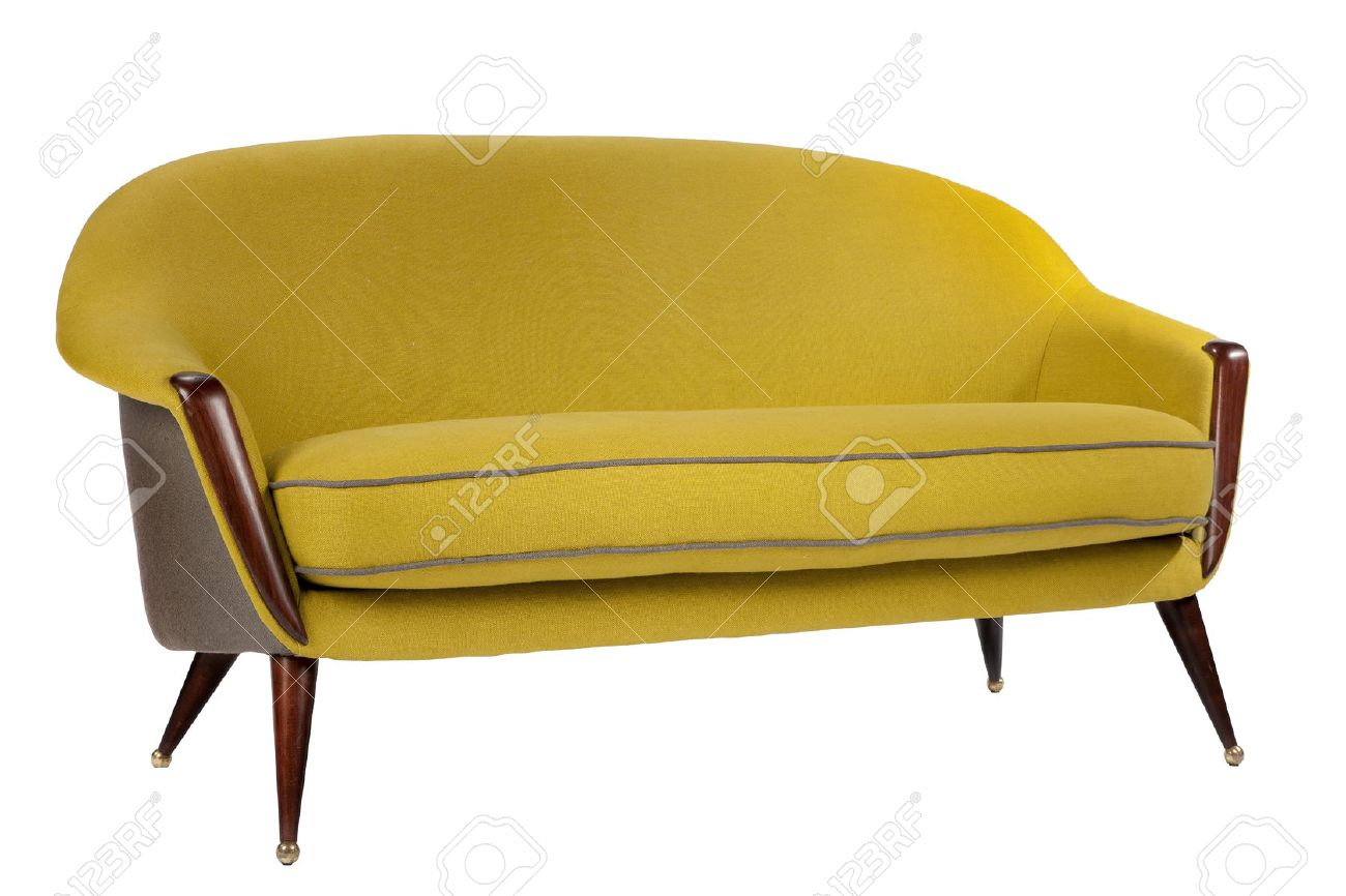 Bright Coloured Yellow Sofa Retro Style Isolated On White Stock