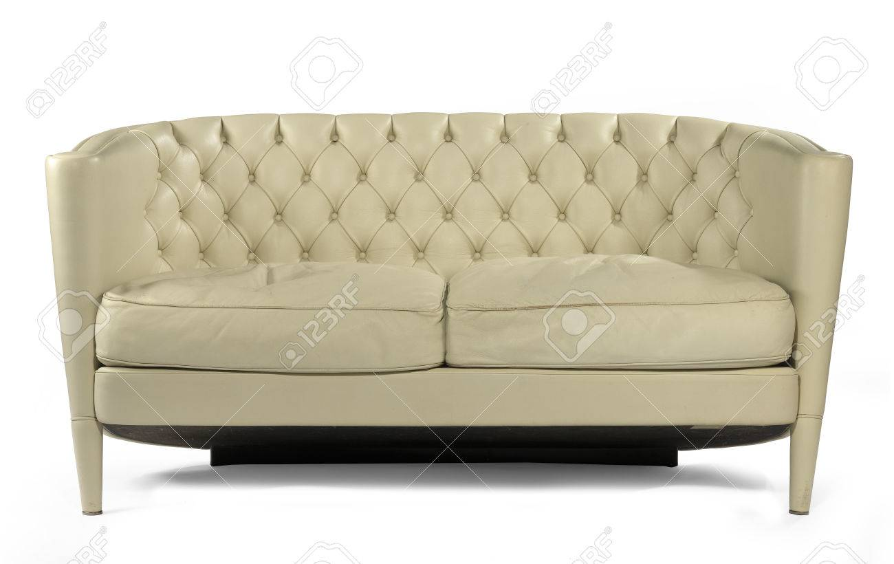 Unusual Retro Style Antique Cream Leather Sofa Isolated On White