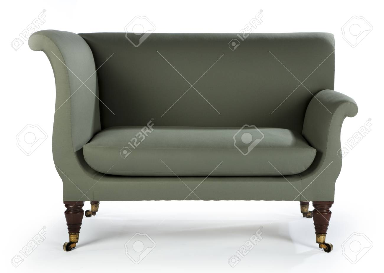 Upholstered Green Sofa Retro Style Isolated On White Stock Photo