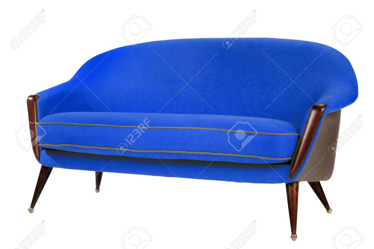 Bright Blue Coloured Sofa Retro Style Isolated On White With Stock
