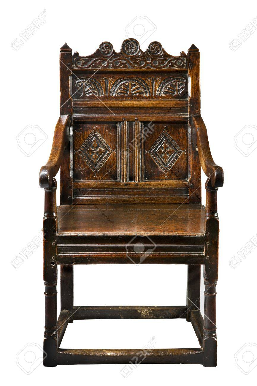 Antique oak wainscot chair carved 16 -17th century Stock Photo - 45553490 - Antique Oak Wainscot Chair Carved 16 -17th Century Stock Photo