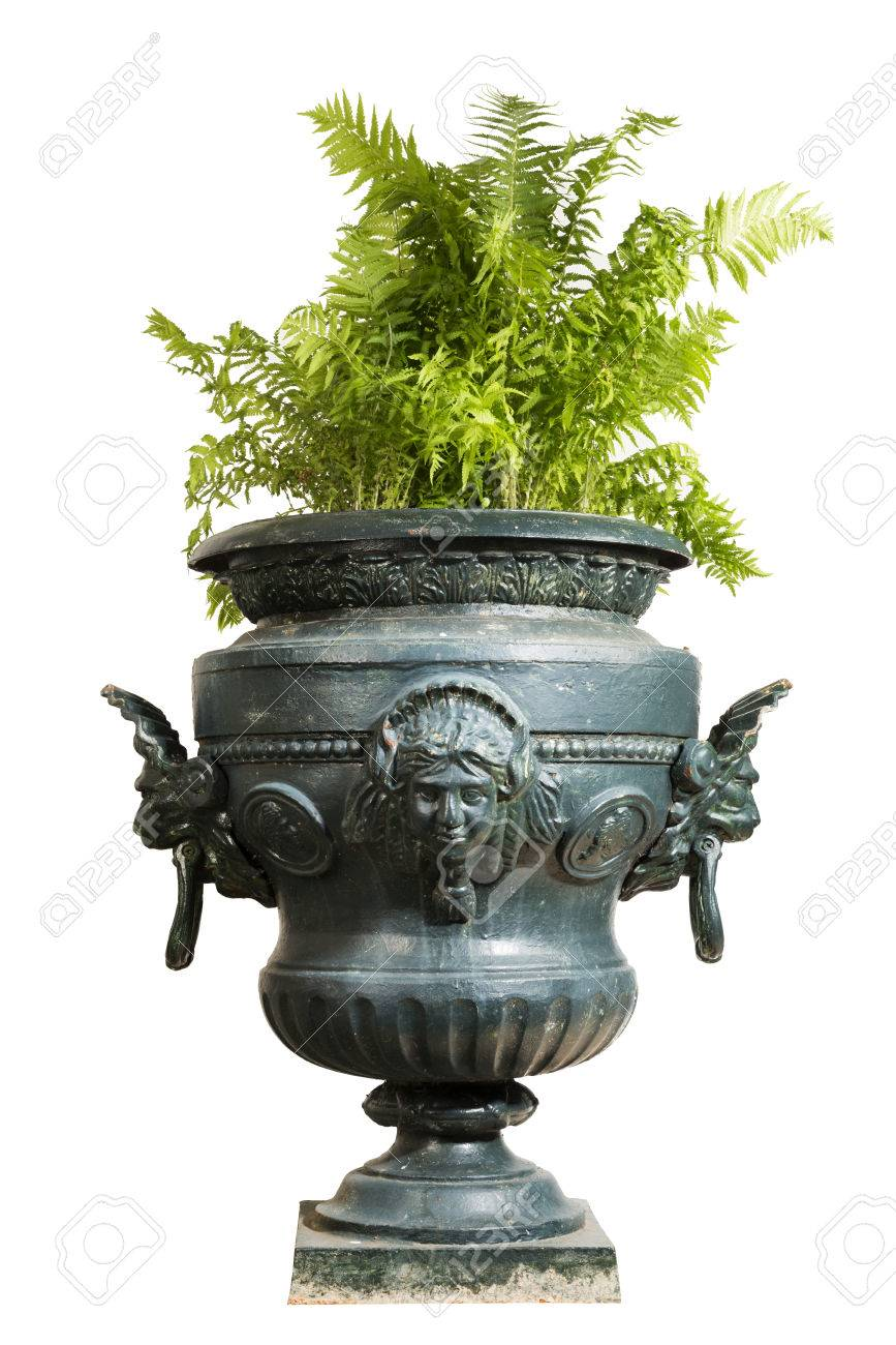 Isolated Large Blue Painted Cast Iron Garden Urn With Fern Plant Stock  Photo   45553484