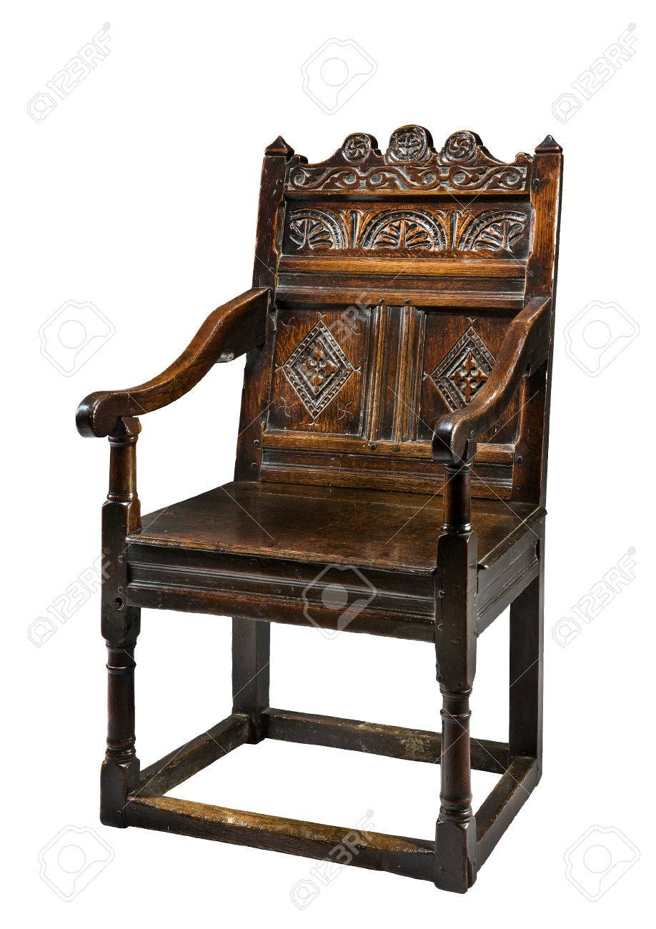 Captivating Antique Oak Wainscot Chair Carved 16  17th Century Stock Photo   45553511