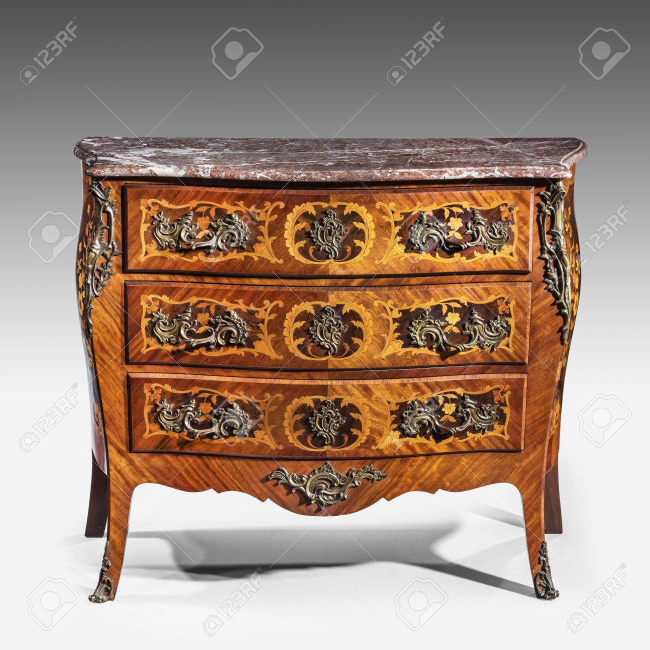 Old Vintage Antique Chest Of Drawers Known As Commode Wood Inlaid