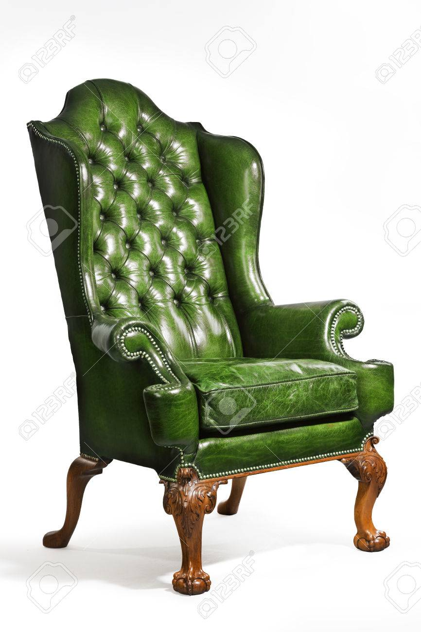 Brilliant Old Comfortable Antique Green Leather Wing Arm Chair 18 19Th Camellatalisay Diy Chair Ideas Camellatalisaycom