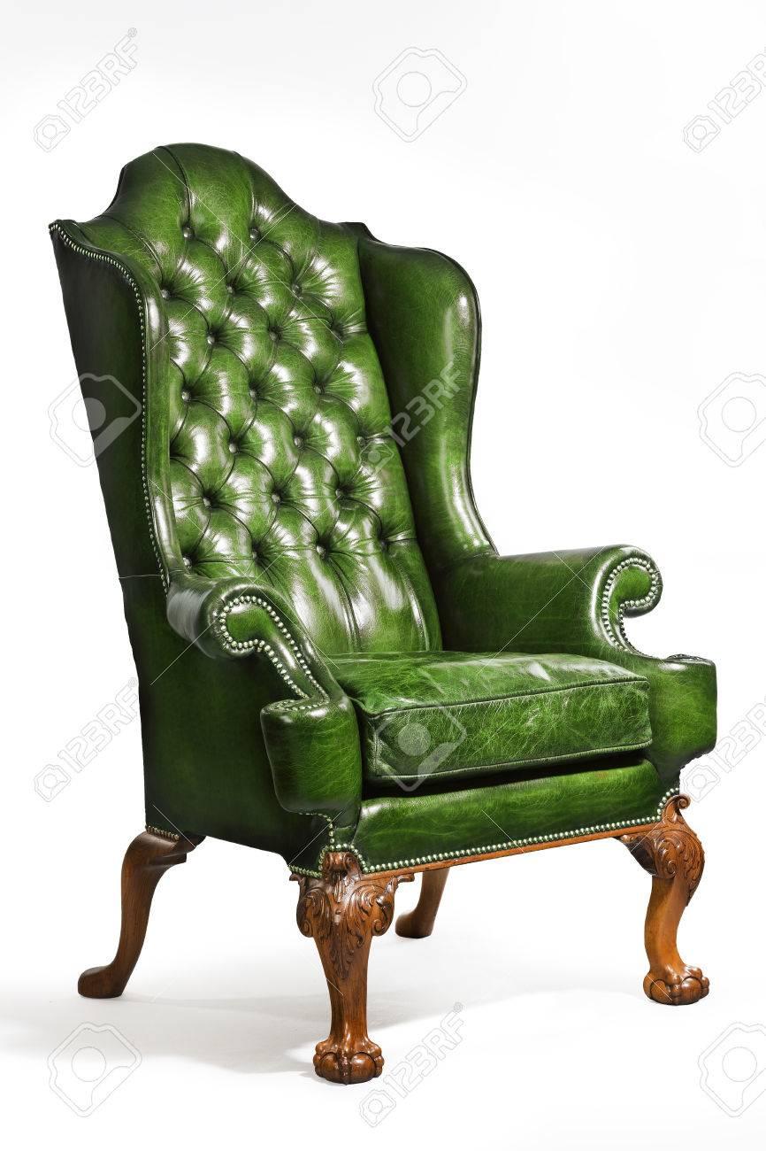 Poltrona Pelle Verde.Vecchio Confortevole Antico Ala Pelle Verde Poltrona 18 19 Secolo