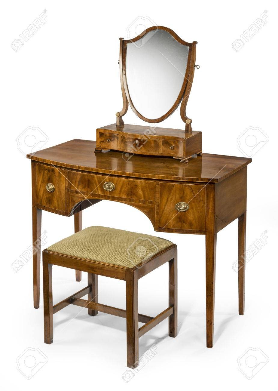 Old antique dressing table set with box mirror isolated with clipping paths  for background and mirror - Old Antique Dressing Table Set With Box Mirror Isolated With.. Stock
