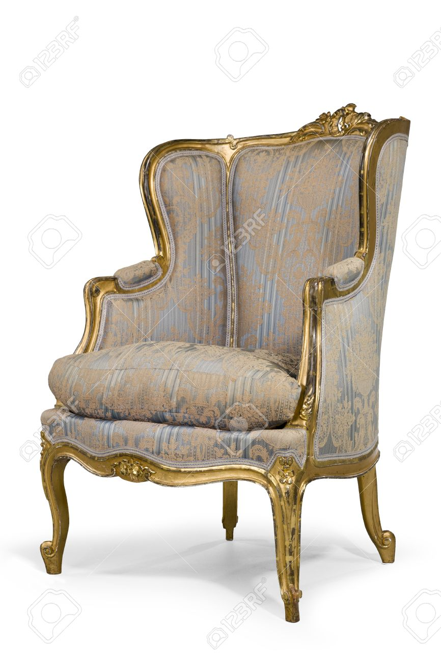 old antique upholstered original material wing arm chair gold leaf frame 18  - 19th century with - Old Antique Upholstered Original Material Wing Arm Chair Gold