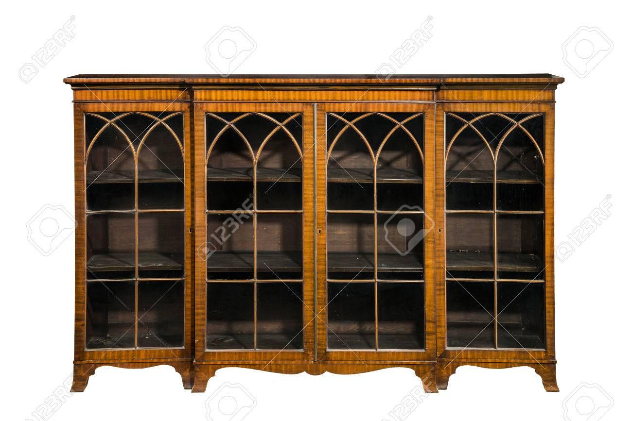 Incrustaciones De Antigüedades Librería De Madera Vacía Con Puertas