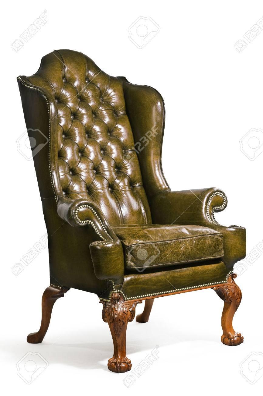 Alt Antike Grun Leder Sessel Englisch Mit Clip Pfad Lizenzfreie