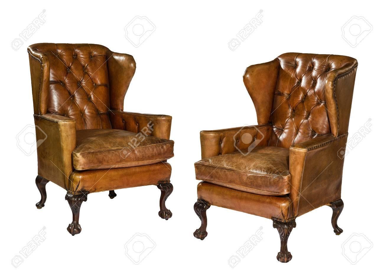 Paar Alte Antik Braun Flugel Leder Sessel 18 19 Jahrhundert